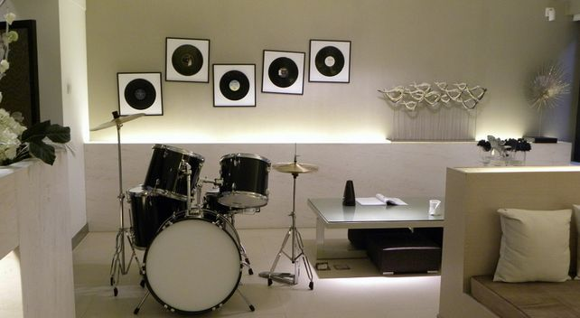basement remodel ideas: music room with drums
